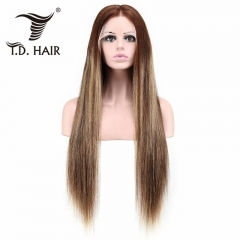 TD Hair 100% Human Hair 13x6 Remy Transparent Lace Frontal Straight Wigs 150% Density High Ratio Ombre Color Wig