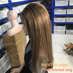 "TD HAIR High Ratio 13x6 Transparent Lace Frontal Remy Straight Human Hair Wigs 12""-24"" Piano Color P4/4T30 150 Density Wig"