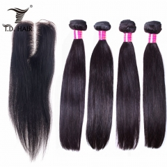 TD Hair 4PCS Malaysia Straight Remy Bundles With 4*4 Transparent Swiss Lace Closure Natural Color 100% Human Hair Pre Plucked Natural Hairline