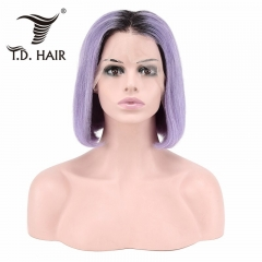 TD Hair 1B#/Purple Ombre 13x4 Swiss Lace Front Straight Short BOB Wigs Remy Human Hair 180% Density 1B# Pink Blue Sliver Red Yellow Orange Green Color