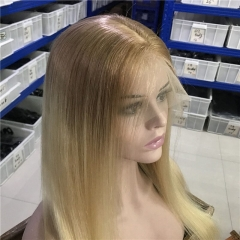 "TD HAIR 13x4 Transparent Lace Front Wigs High Ratio 12""-24"" Remy Human Hair Wig #12-613 Ombre Color Straight Hair Wigs 150% Density"
