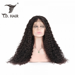 TD Hair Brazilian Water Wave 13x4 Transparent Swiss Lace Frontal Wigs 180% Density With Baby Hair Natural Human Hair Remy Wig For Black Women