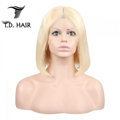 TD Hair 13*4 Frontal Lace 613 Colors Short Bob Wig 180% Density Pre-Plucked Brazilian Human Hair Remy Cosplay Wigs Middle Part