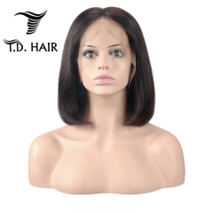 TD Hair 13*4 Frontal Lace Short Bob Wig 180% Density Pre-Plucked Peruvian Brazilian Human Hair 1B# Natural Color Remy Wigs