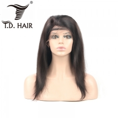 TD Hair Straight 13*4 Frontal Swiss Transparent Lace Wig 150% 180% Density With Baby Hair Brazilian Wigs Remy 1B# Color 100% Natural Human Hair