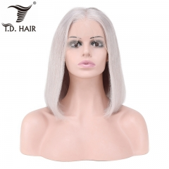 TD Hair 13x4 Lace Frontal Bob Wigs Remy Peruvian Straight Human Hair 180% Density Pre-plucked Pink Yellow Red Blue Purple Silver Color Wig