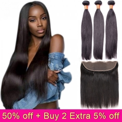 TD Hair 3PCS Peruvian Brazilian Remy Straight Hair Bundles Weaving With 13*4 Transparent Swiss Lace Frontal Grade 9A Hair Extensions