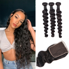 TD Hair 3PCS Loose Wave Remy Brazilian 100% Human Hair Bundles With 4*4 Transparent Swiss Lace Closure 1B# Natural Color Hair Extensions