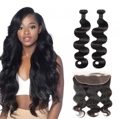 TD Hair 2PCS Malaysian 9A Grade Remy Body Wave Bundles Weaving With 13*4 Swiss Transparent Lace Frontal 100% Human Hair Extensions